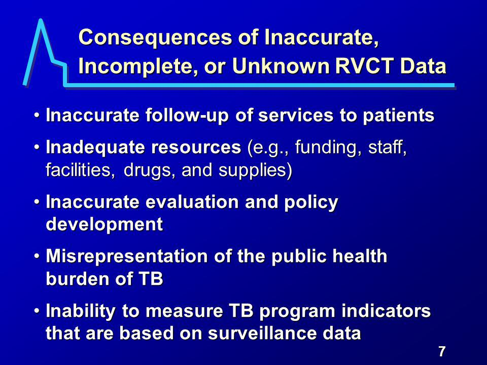 7 Consequences of Inaccurate, Incomplete, or Unknown RVCT Data Inaccurate follow-up of services to patientsInaccurate follow-up of services to patients Inadequate resources (e.g., funding, staff, facilities, drugs, and supplies)Inadequate resources (e.g., funding, staff, facilities, drugs, and supplies) Inaccurate evaluation and policy developmentInaccurate evaluation and policy development Misrepresentation of the public health burden of TBMisrepresentation of the public health burden of TB Inability to measure TB program indicators that are based on surveillance dataInability to measure TB program indicators that are based on surveillance data