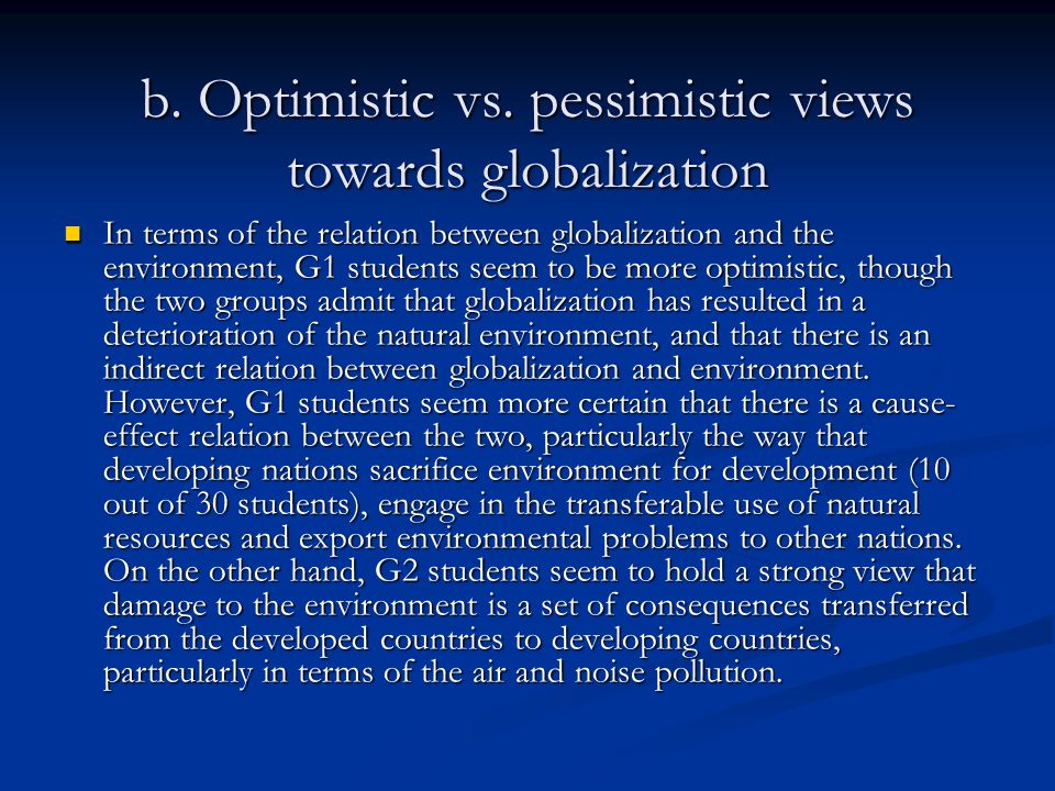 b.Optimistic vs.