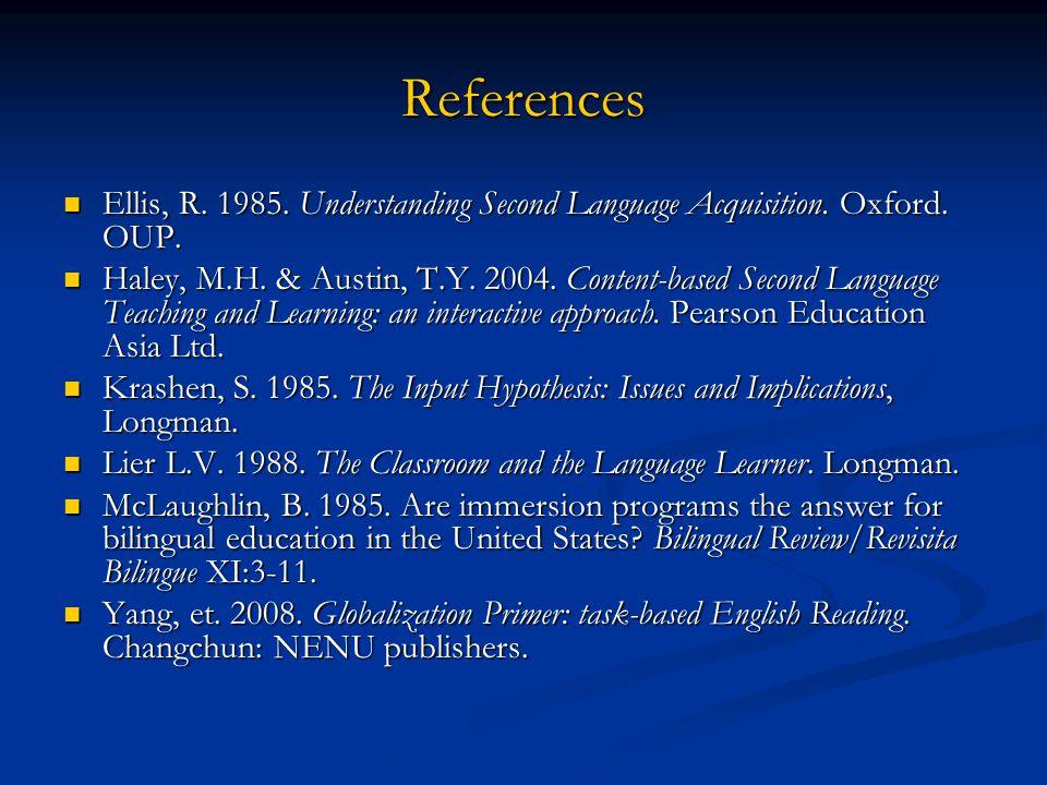 References Ellis, R. 1985. Understanding Second Language Acquisition. Oxford. OUP. Ellis, R. 1985. Understanding Second Language Acquisition. Oxford.