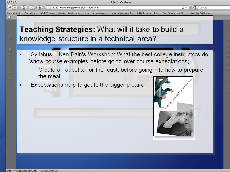 Teaching Strategies: What will it take to build a knowledge structure in a technical area.