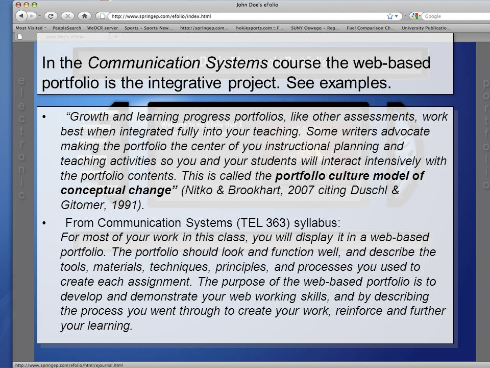 In the Communication Systems course the web-based portfolio is the integrative project.