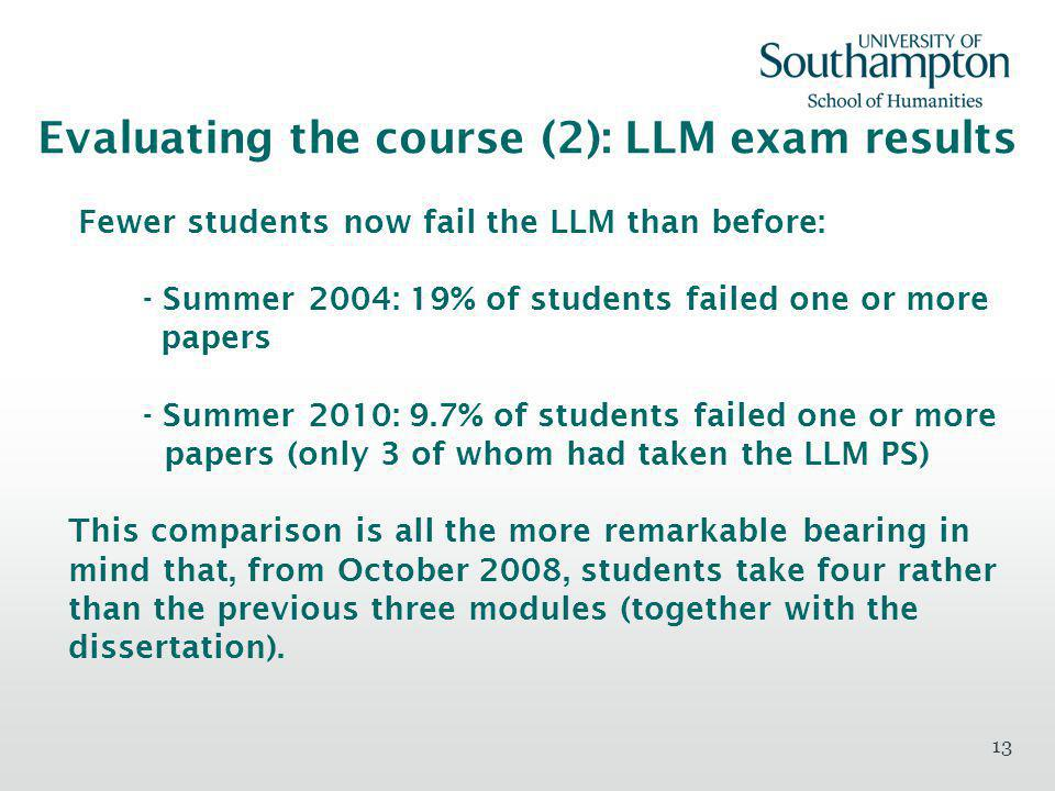 13 Evaluating the course (2): LLM exam results Fewer students now fail the LLM than before: - Summer 2004: 19% of students failed one or more papers - Summer 2010: 9.7% of students failed one or more papers (only 3 of whom had taken the LLM PS) This comparison is all the more remarkable bearing in mind that, from October 2008, students take four rather than the previous three modules (together with the dissertation).
