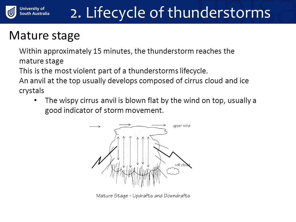 2. Lifecycle of thunderstorms Mature stage Within approximately 15 minutes, the thunderstorm reaches the mature stage This is the most violent part of