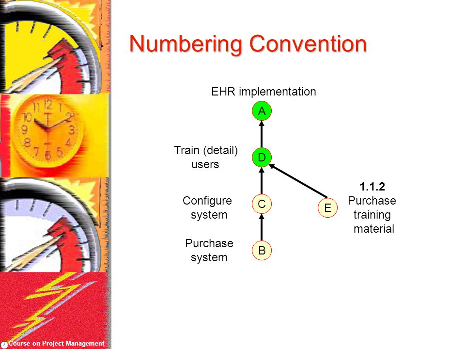 Course on Project Management Numbering Convention EHR implementation Purchase system Configure system A B C D Train (detail) users E 1.1.2 Purchase tr