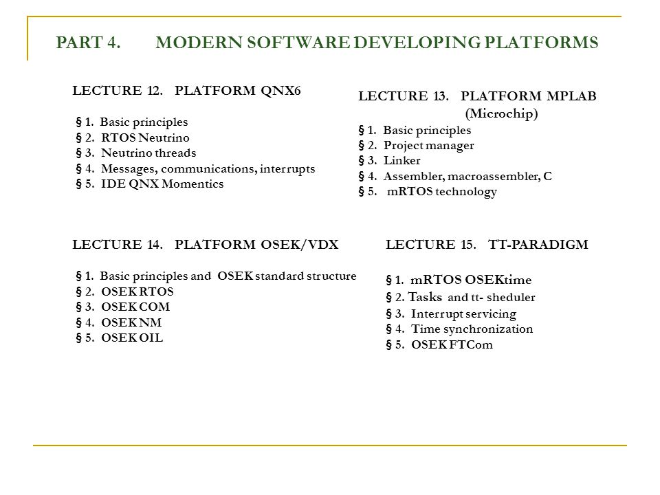 PART 4. MODERN SOFTWARE DEVELOPING PLATFORMS LECTURE 12.