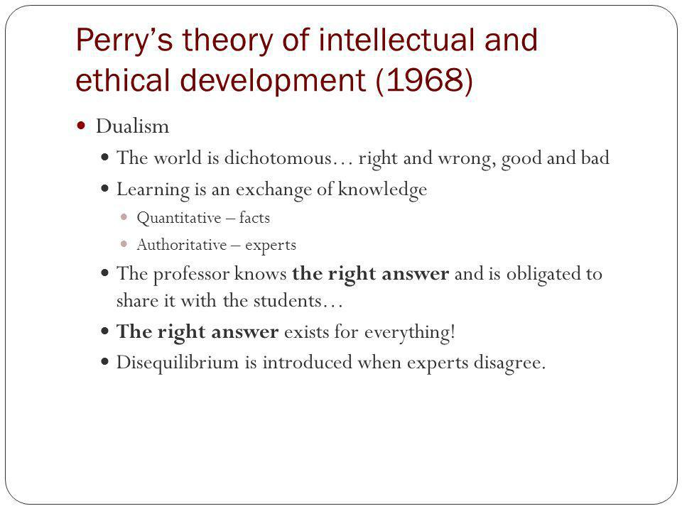Perrys theory of intellectual and ethical development (1968) Multiplicity Honoring diverse views when the right answer is unknown.