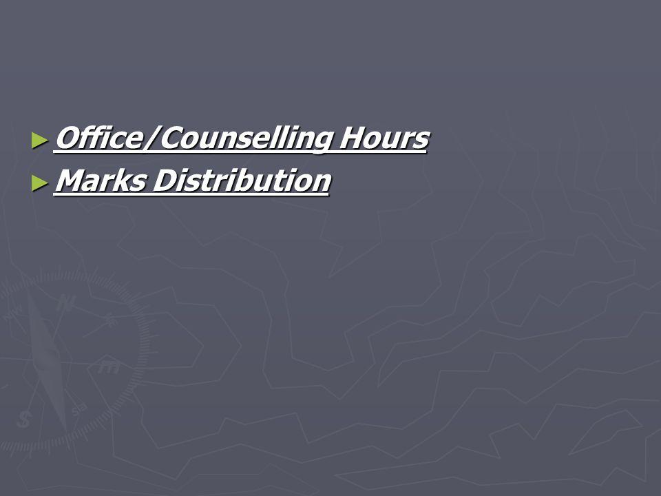Office/Counselling Hours Office/Counselling Hours Marks Distribution Marks Distribution