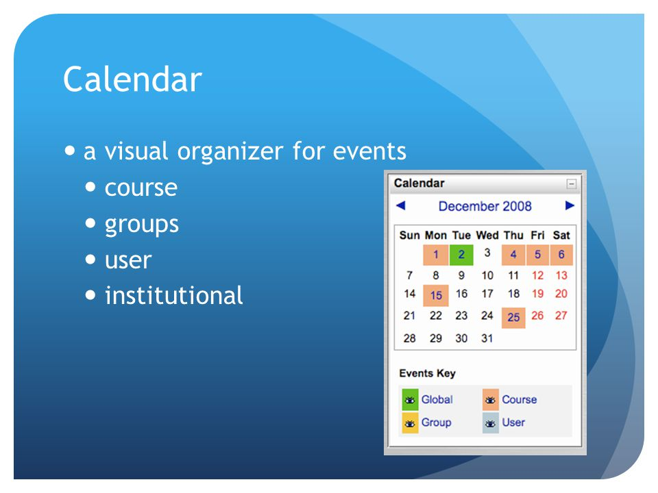Calendar a visual organizer for events course groups user institutional