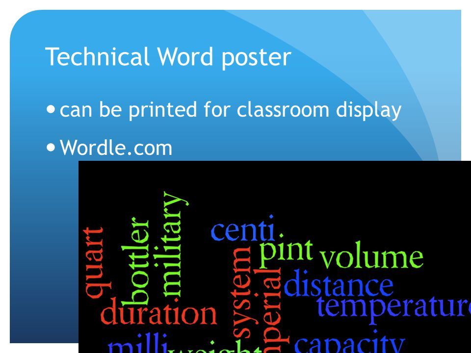 Technical Word poster can be printed for classroom display Wordle.com