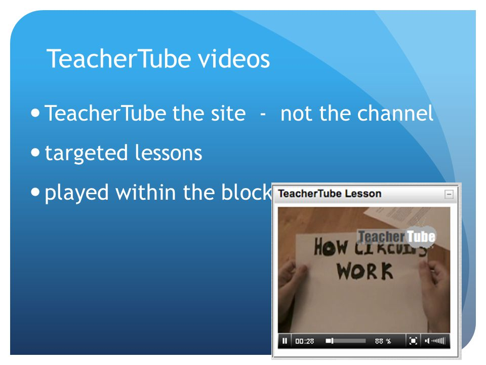 TeacherTube videos TeacherTube the site - not the channel targeted lessons played within the block