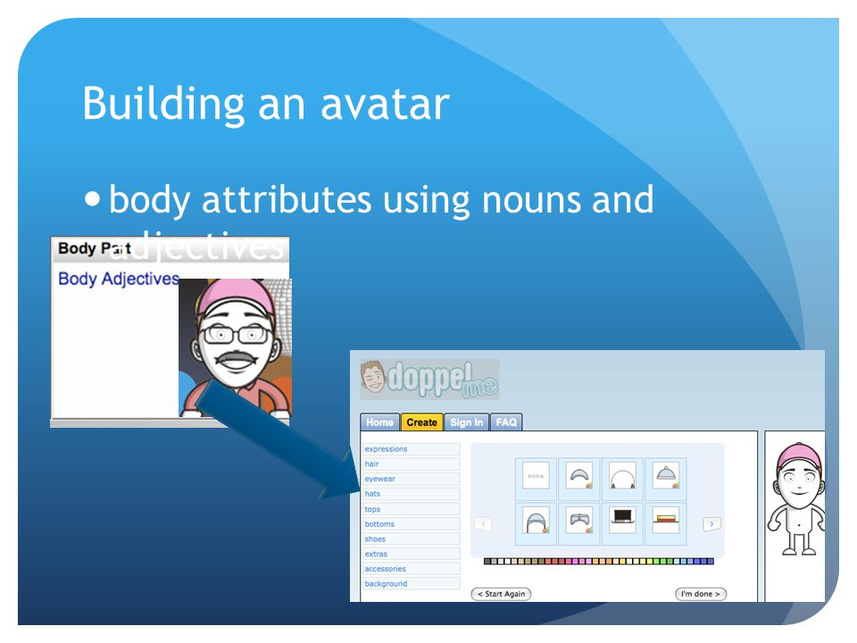 Building an avatar body attributes using nouns and adjectives