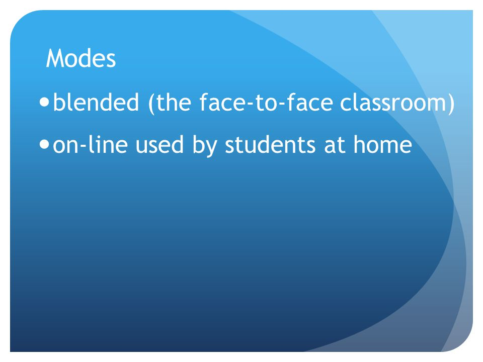 Modes blended (the face-to-face classroom) on-line used by students at home