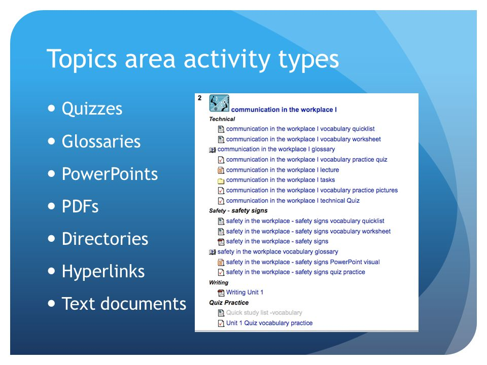 Topics area activity types Quizzes Glossaries PowerPoints PDFs Directories Hyperlinks Text documents