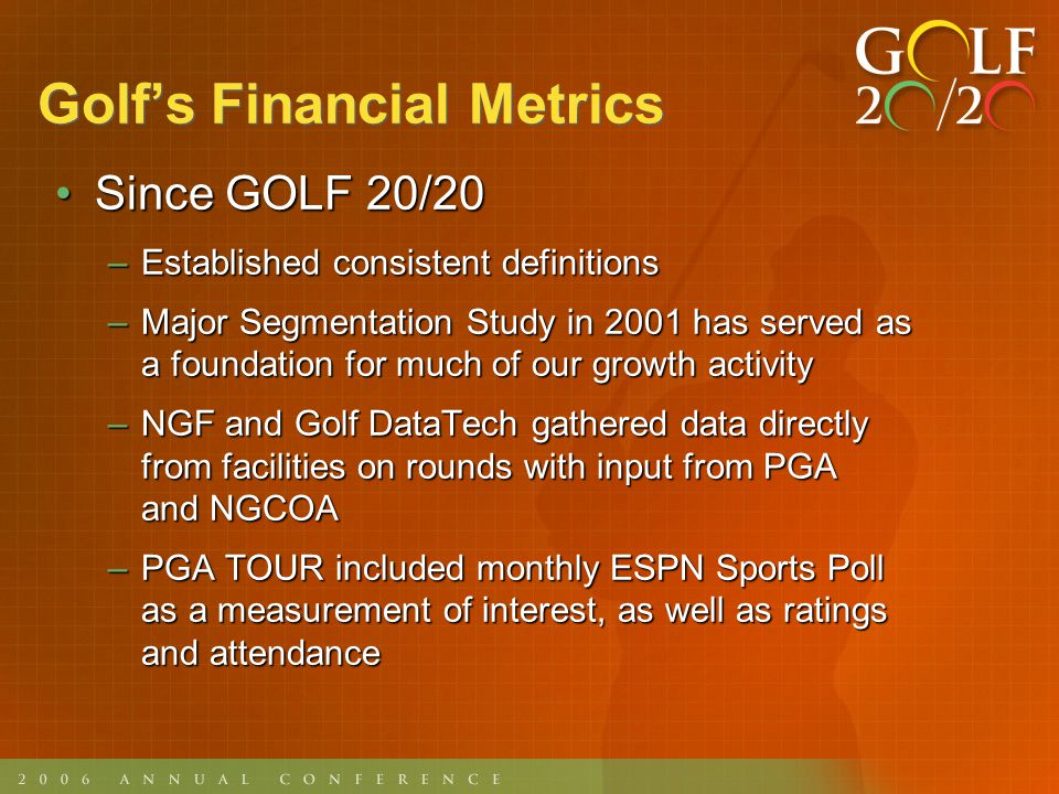 Golfs Financial Metrics Since GOLF 20/20 (contd)Since GOLF 20/20 (contd) –Measured scope of industry $62 billion annual business$62 billion annual business Larger than recording & motion picture industries combinedLarger than recording & motion picture industries combined –Measured charitable impact Responsible for raising $3.2 billion per yearResponsible for raising $3.2 billion per year