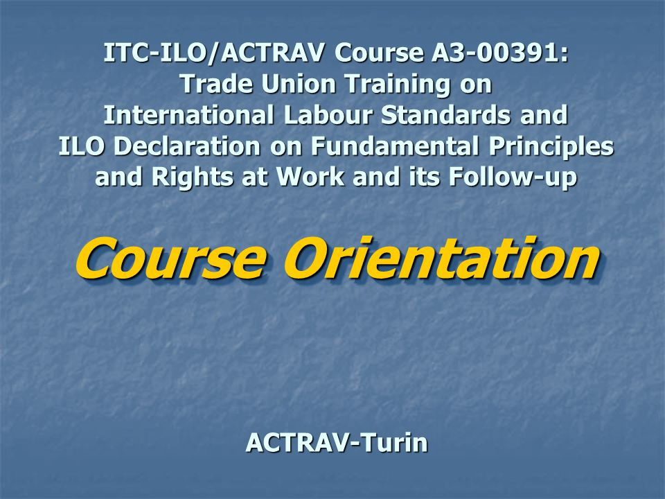 Immediate Objectives By the end of the course, all participants should become able to Fully utilize international labour standards and the ILO mechanisms Identify workers rights problems being faced by your members