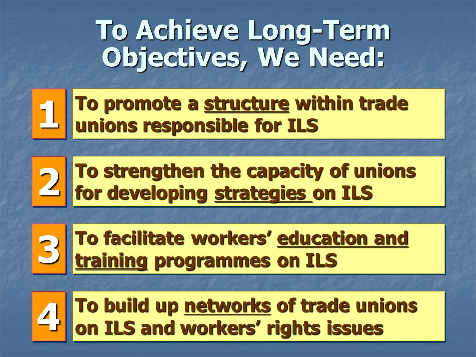 Long-Term Objectives of this Training Course Positive changes in the national labour legislations and their actual implementations To achieve By ensuring the regular and effective use of International Labour Standards and the ILOs mechanisms by trade unions.