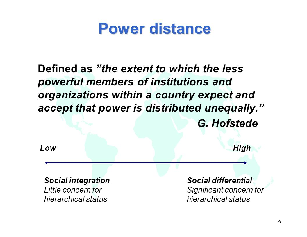 47 Hofstedes model 5 dimensions of culture: 1.Power distance 2.Individualism vs.