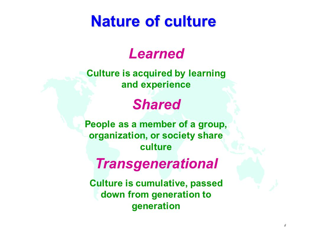 5 Culture = Human mental programming Personality Culture Human Nature Inherited & learned Learned Inherited Universal Specific to group or category Specific to individual Source: G.