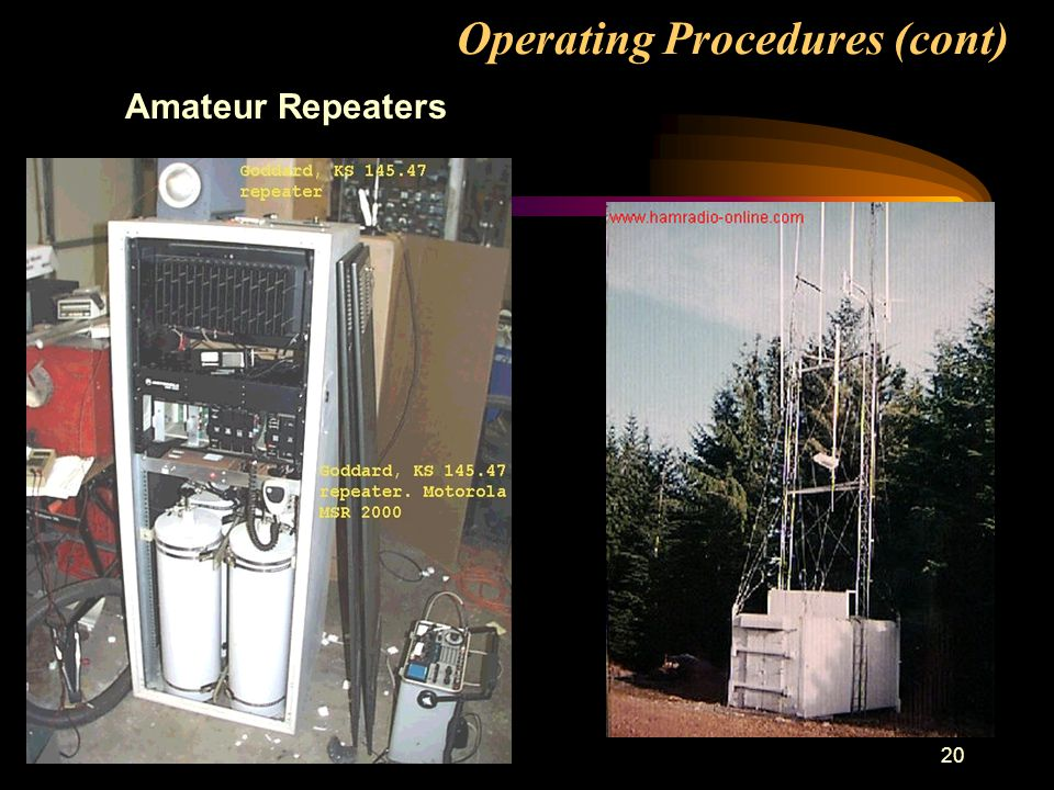 20 Operating Procedures (cont) Amateur Repeaters