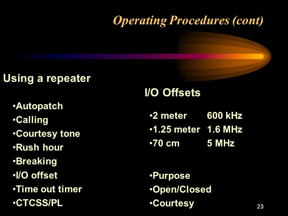 23 Operating Procedures (cont) Using a repeater Autopatch Calling Courtesy tone Rush hour Breaking I/O offset Time out timer CTCSS/PL I/O Offsets 2 meter600 kHz 1.25 meter1.6 MHz 70 cm5 MHz Purpose Open/Closed Courtesy