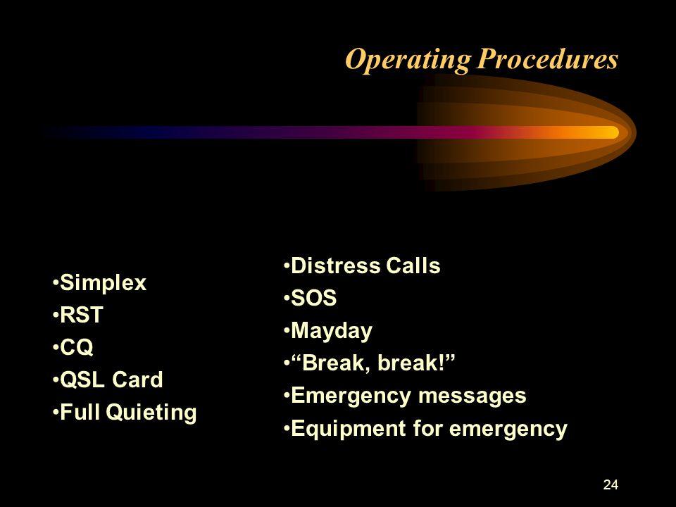 24 Operating Procedures Simplex RST CQ QSL Card Full Quieting Distress Calls SOS Mayday Break, break! Emergency messages Equipment for emergency