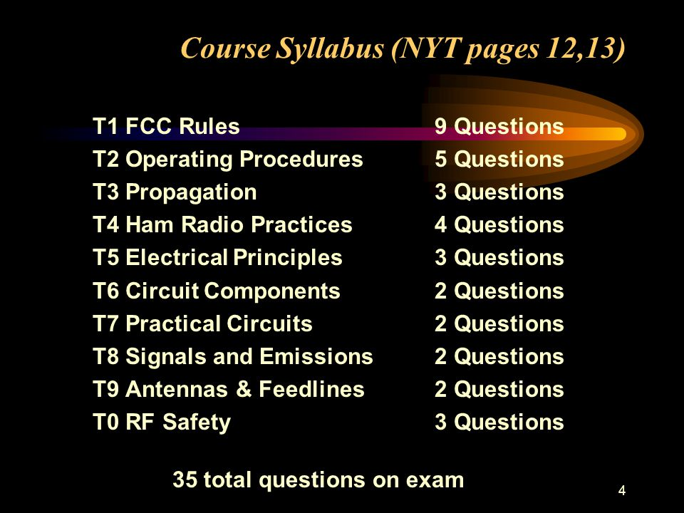 4 Course Syllabus (NYT pages 12,13) T1 FCC Rules9 Questions T2 Operating Procedures5 Questions T3 Propagation3 Questions T4 Ham Radio Practices4 Questions T5 Electrical Principles3 Questions T6 Circuit Components2 Questions T7 Practical Circuits2 Questions T8 Signals and Emissions2 Questions T9 Antennas & Feedlines2 Questions T0 RF Safety3 Questions 35 total questions on exam