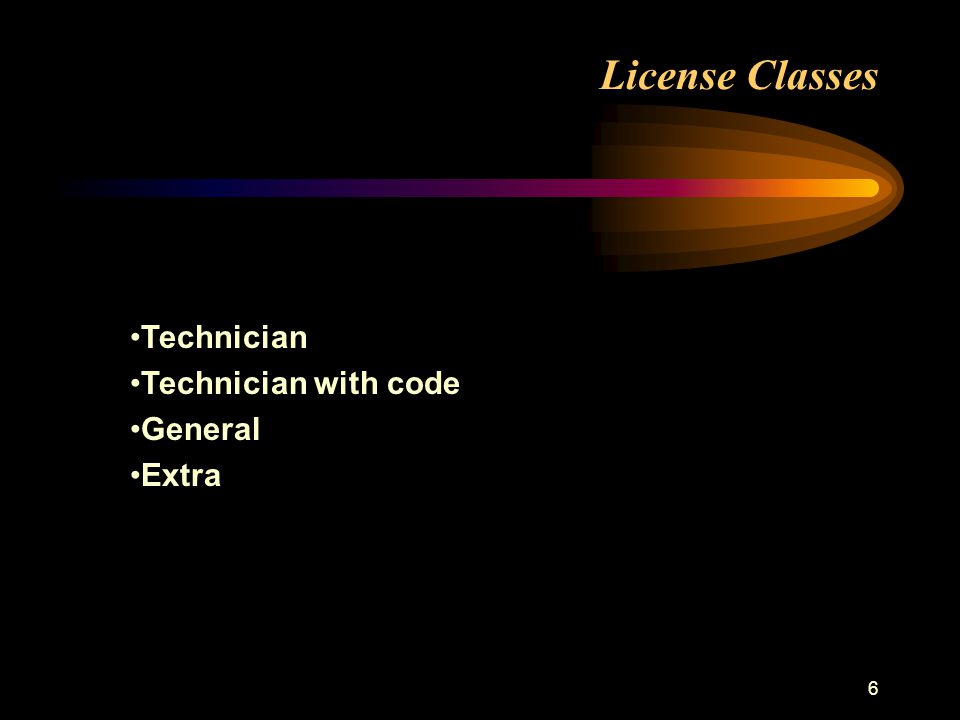 6 License Classes Technician Technician with code General Extra