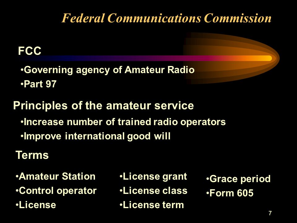 7 Federal Communications Commission Governing agency of Amateur Radio Part 97 Principles of the amateur service Increase number of trained radio operators Improve international good will Terms Amateur Station Control operator License License grant License class License term Grace period Form 605 FCC
