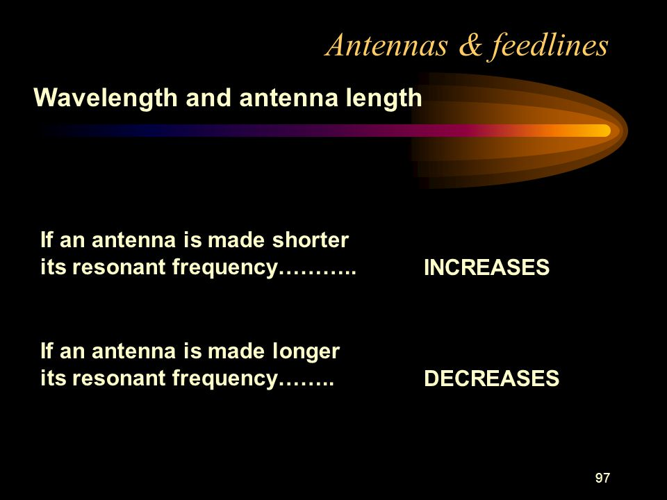 97 Antennas & feedlines Wavelength and antenna length If an antenna is made shorter its resonant frequency………..
