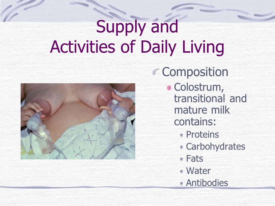 Supply and Activities of Daily Living Composition Colostrum, transitional and mature milk contains: Proteins Carbohydrates Fats Water Antibodies