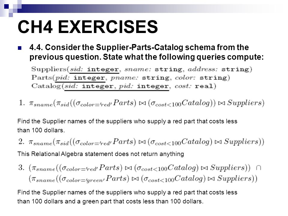 CH4 EXERCISES 4.4. Consider the Supplier-Parts-Catalog schema from the previous question. State what the following queries compute: Find the Supplier