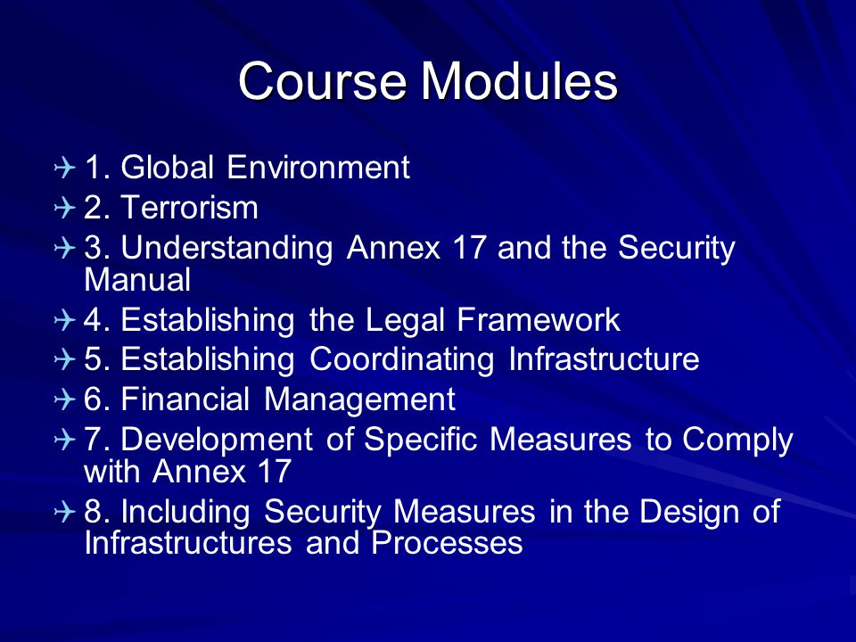Course Modules 1. Global Environment 2. Terrorism 3.
