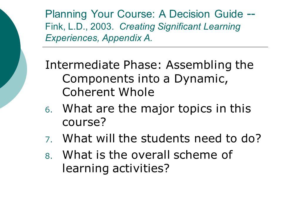 Planning Your Course: A Decision Guide -- Fink, L.D., 2003.
