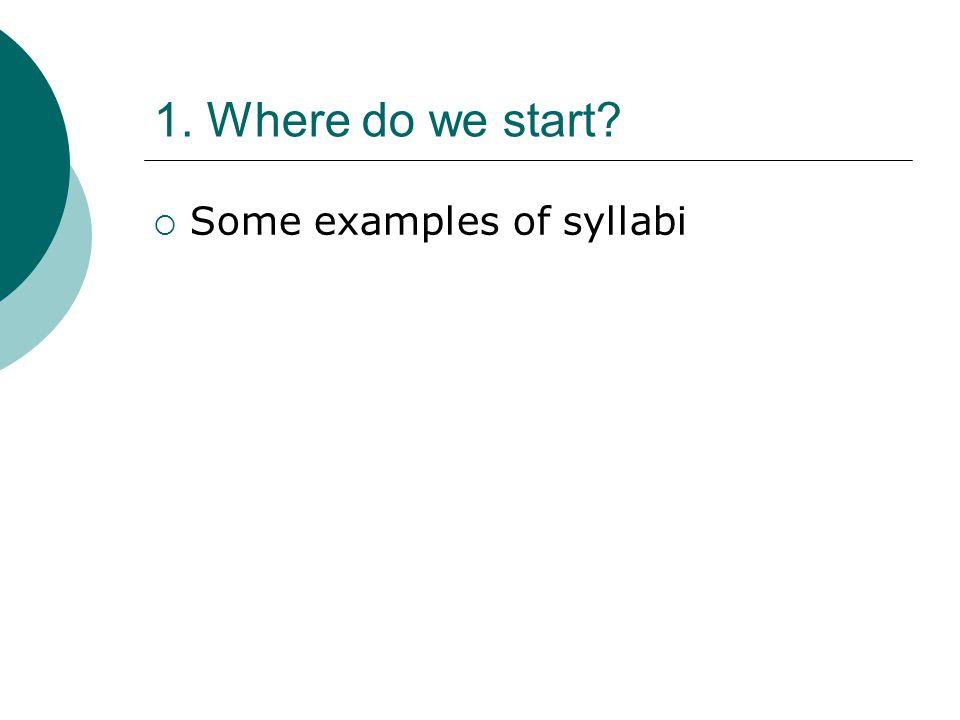 1. Where do we start? Some examples of syllabi