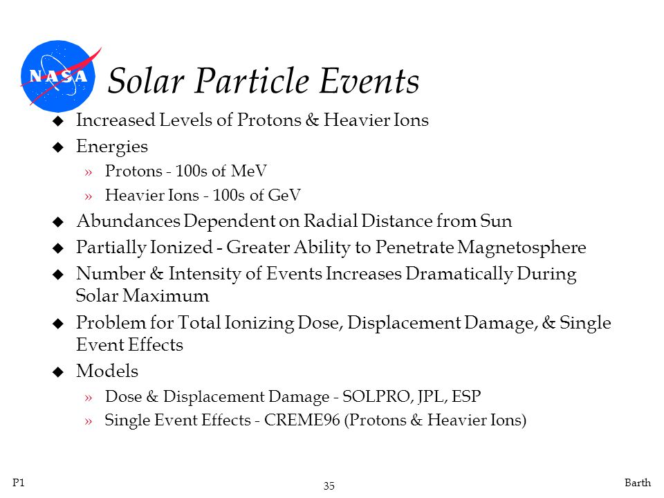 P1 35 Barth Solar Particle Events u Increased Levels of Protons & Heavier Ions u Energies »Protons - 100s of MeV »Heavier Ions - 100s of GeV u Abundances Dependent on Radial Distance from Sun u Partially Ionized - Greater Ability to Penetrate Magnetosphere u Number & Intensity of Events Increases Dramatically During Solar Maximum u Problem for Total Ionizing Dose, Displacement Damage, & Single Event Effects u Models »Dose & Displacement Damage - SOLPRO, JPL, ESP »Single Event Effects - CREME96 (Protons & Heavier Ions)