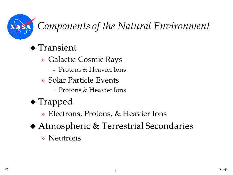 P1 4 Barth Components of the Natural Environment u Transient »Galactic Cosmic Rays Protons & Heavier Ions »Solar Particle Events Protons & Heavier Ions u Trapped »Electrons, Protons, & Heavier Ions u Atmospheric & Terrestrial Secondaries »Neutrons