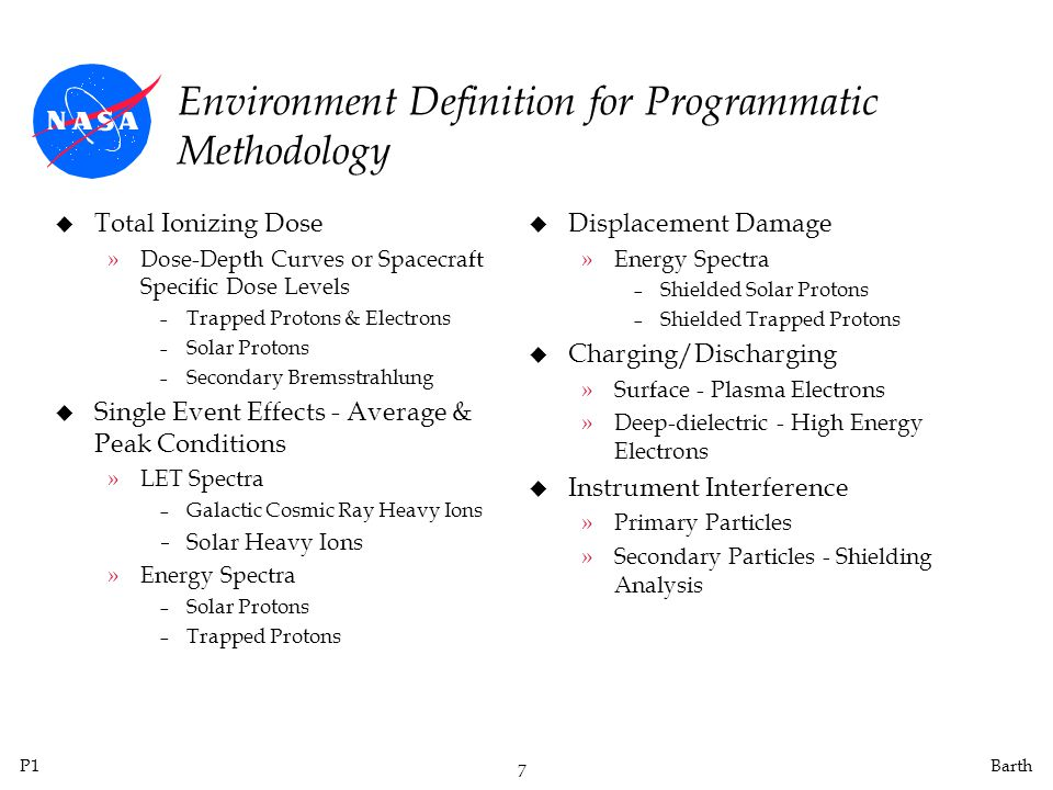 P1 7 Barth Environment Definition for Programmatic Methodology u Total Ionizing Dose »Dose-Depth Curves or Spacecraft Specific Dose Levels Trapped Protons & Electrons Solar Protons Secondary Bremsstrahlung u Single Event Effects - Average & Peak Conditions »LET Spectra Galactic Cosmic Ray Heavy Ions Solar Heavy Ions »Energy Spectra Solar Protons Trapped Protons u Displacement Damage »Energy Spectra Shielded Solar Protons Shielded Trapped Protons u Charging/Discharging »Surface - Plasma Electrons »Deep-dielectric - High Energy Electrons u Instrument Interference »Primary Particles »Secondary Particles - Shielding Analysis