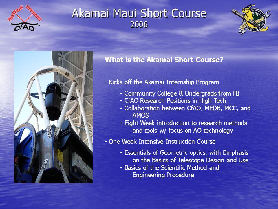Akamai Maui Short Course 2006 Who Are the Students.