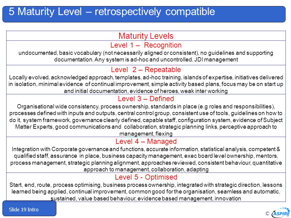 © Slide 19 Intro 5 Maturity Level – retrospectively compatible Maturity Levels Level 1 – Recognition undocumented, basic vocabulary (not necessarily aligned or consistent), no guidelines and supporting documentation.