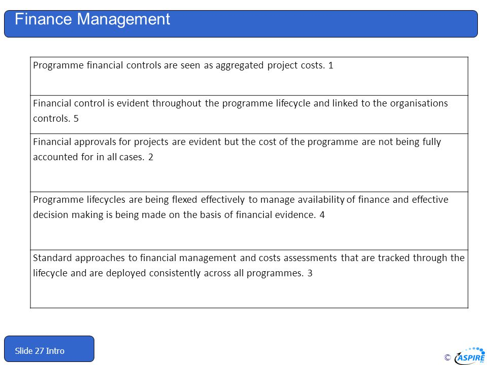 © Slide 27 Intro Finance Management Programme financial controls are seen as aggregated project costs.