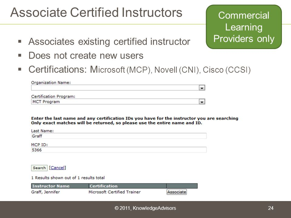 Associate Certified Instructors Associates existing certified instructor Does not create new users Certifications: M icrosoft (MCP), Novell (CNI), Cis
