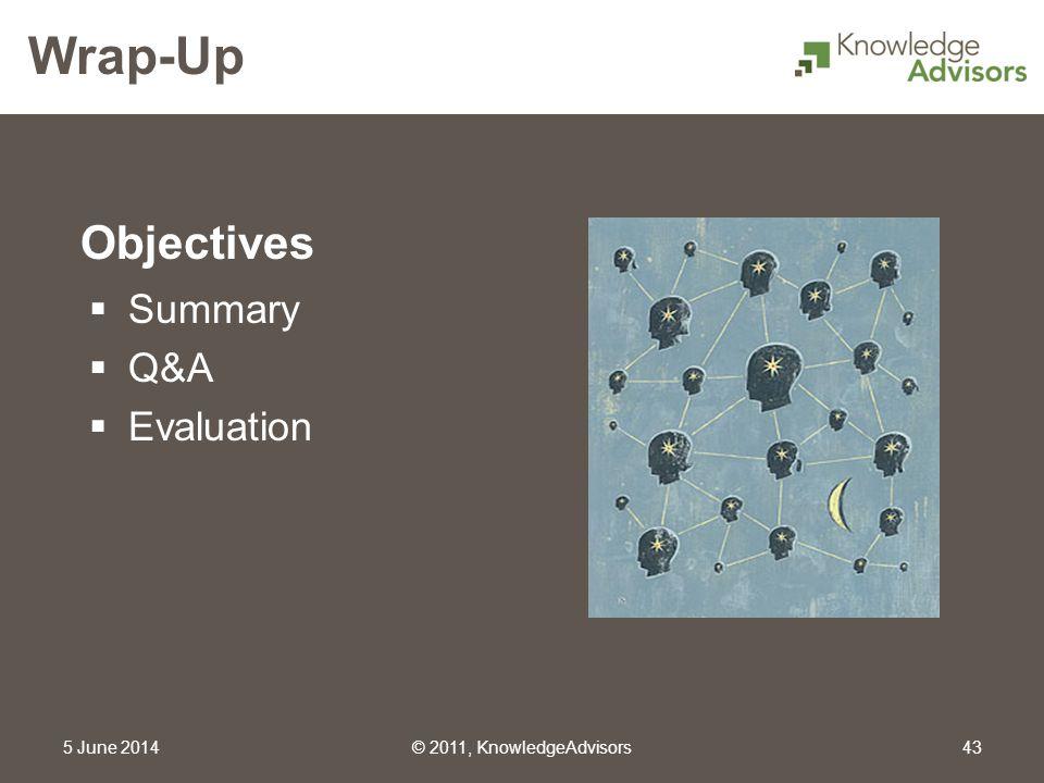 Objectives Wrap-Up 5 June 2014© 2011, KnowledgeAdvisors43 Summary Q&A Evaluation