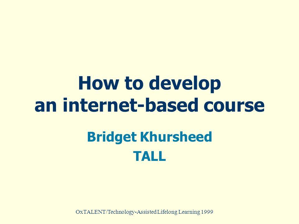 OxTALENT/Technology-Assisted Lifelong Learning 1999 Database model