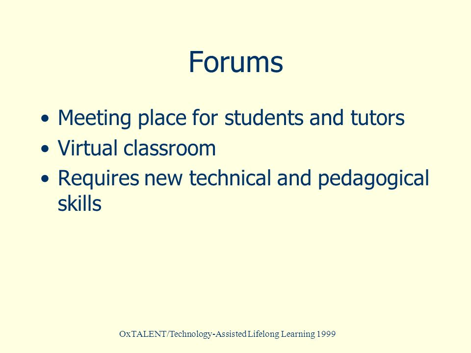 OxTALENT/Technology-Assisted Lifelong Learning 1999