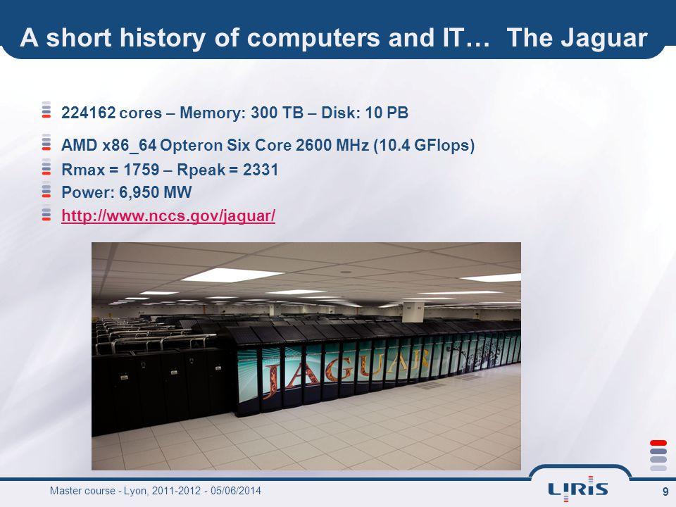 9 A short history of computers and IT… The Jaguar 224162 cores – Memory: 300 TB – Disk: 10 PB AMD x86_64 Opteron Six Core 2600 MHz (10.4 GFlops) Rmax