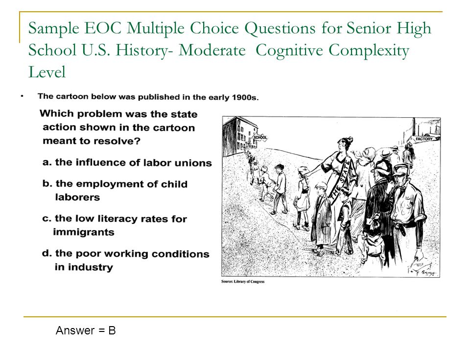 Sample EOC Multiple Choice Questions for Senior High School U.S.