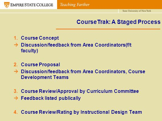 CourseTrak: A Staged Process 1.Course Concept Discussion/feedback from Area Coordinators(f/t faculty) 2.Course Proposal Discussion/feedback from Area