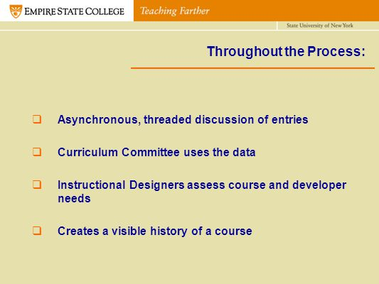 Throughout the Process: Asynchronous, threaded discussion of entries Curriculum Committee uses the data Instructional Designers assess course and deve