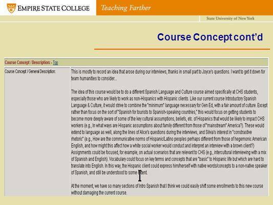 Course Concept contd