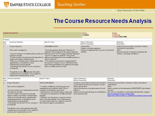 The Course Resource Needs Analysis Table 1. Tier 1 Ratings Legend